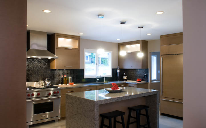 This Zen Inspired North Vancouver Renovation Is All About Texture Mid Tone Horizontal Rift Cut White Oak Cabinets Warm Up Concrete Floors In The Kitchen